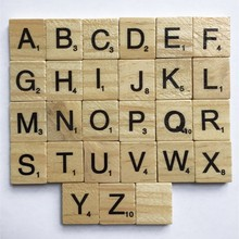 New Creative 100 pcs Wooden Alphabet Scrabble Tiles Black Letters Numbers Crafts Figurines Word Decoration Brain Game