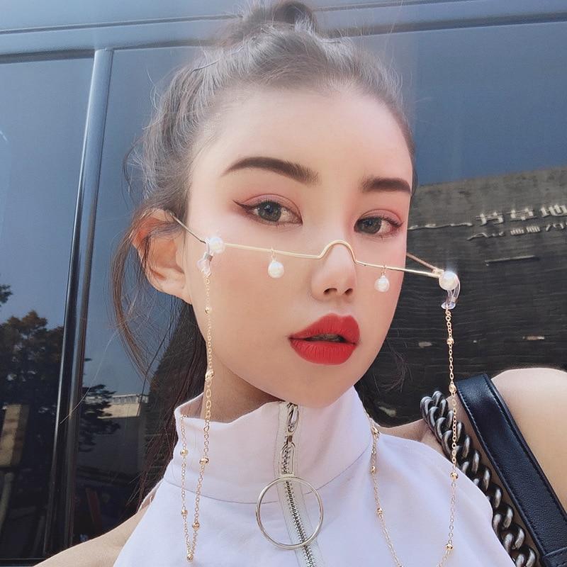 Retro Fashion Pearl Pendant No Lense Glasses Half Frame Eyeglasses Glasses Frame Girl Eyewear Without Chain Party Photo Prop