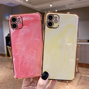 For iPhone 11 Case Luxury Marble Electroplated Gold Plated Cases for iPhone 7 8 Plus XS Max XR X 11 Pro Max SE Cover Silicone