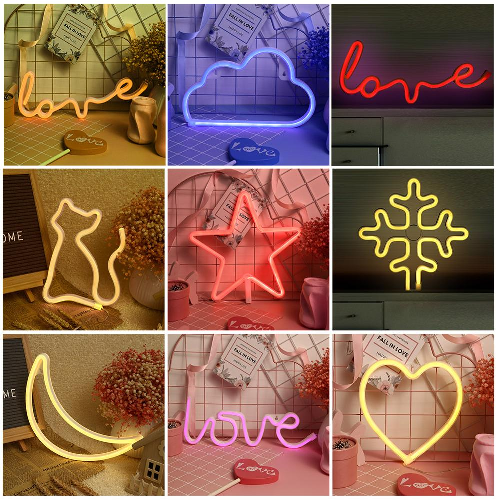 LOVE Sign LED Neon Light Moon Lamp Led Night Light USB/Battery Powered Wedding Festival Party Decorative Lamp for Home Room
