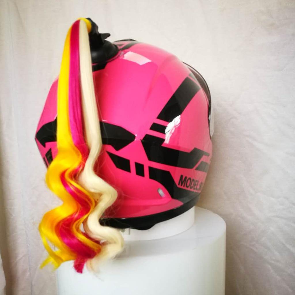 Helmet Curly Hair Pigtail Gradient Ramp Helmet Braids Ponytail Motorcycle