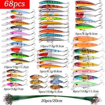 Παντοδύναμο κιτ ψαρέματος ψαρέματος wobbler crankbaits swimbait minnow hard baits spiners carp fishing lures set tackle