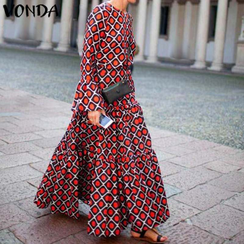 VONDA Brand Autumn Spring Long Sleeve O Neck Printed Dress Casual Loose Beach Party Bohemian Sundress Plus Size Vestidos 5XL