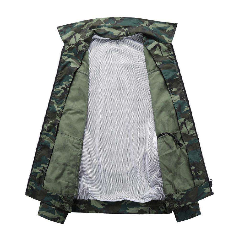 Hommes climatisation coup de chaleur contre mesures extérieur vestes vêtements de travail grande taille Camouflage imprimé imperméable manteau - 3