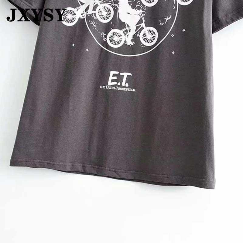 Jxysy camisa feminina 2020 verão alta rua vintage superwoman impressão algodão o-pescoço harajuku tshirt feminino topos plus size