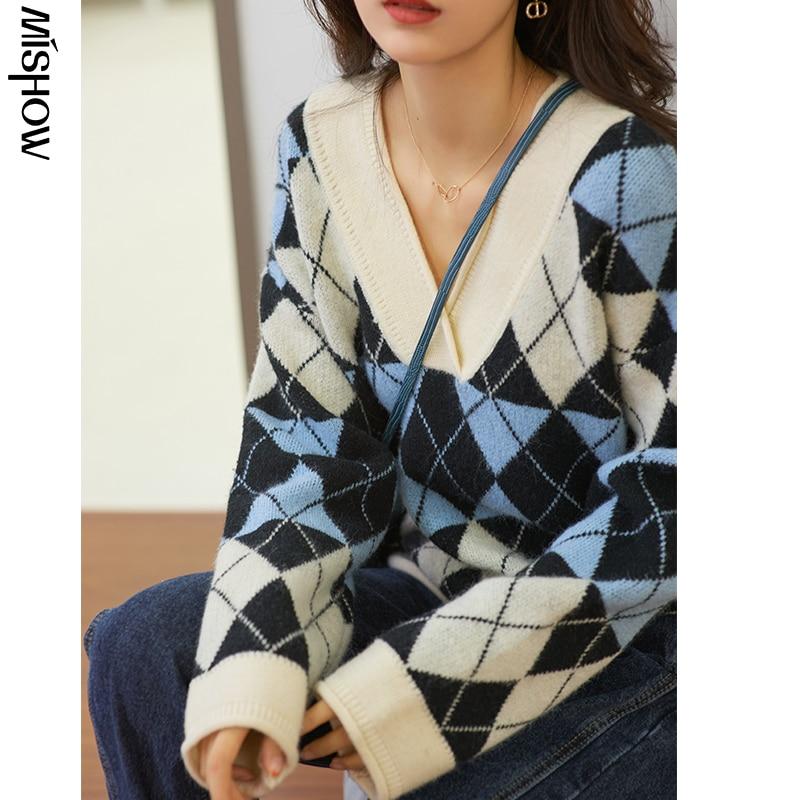 MISHOW moda kadın kazak v yaka rahat örme kazak sonbahar kış kazak çok yönlü moda kazak MX20C5770