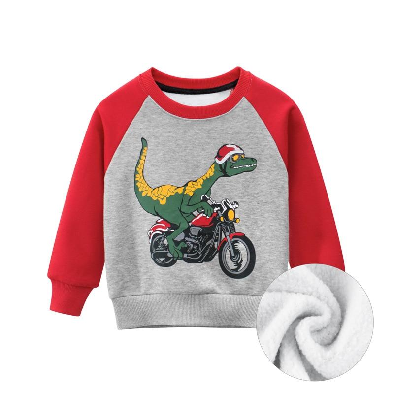 27kid Dinosaur Pattern Boys kids T-shirt For Kids Autumn Sweatershirt Blouse Tops Children's sweater hood Spring Clothing 2
