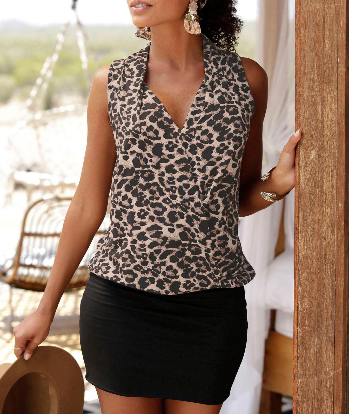 Fashion <font><b>Black</b></font> Patchwork Leopard Beach Style <font><b>Dresses</b></font> Women <font><b>Summer</b></font> <font><b>2019</b></font> <font><b>Sexy</b></font> Deep V-neck Tank <font><b>Sleeveless</b></font> Sheath Mini <font><b>Bodycon</b></font> <font><b>Dress</b></font> image