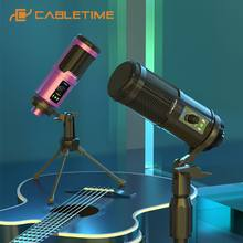 CABLETIME USB Microphone Professional Condenser Speaker for Game Live Recording Studio Laptop Youtube Skype Speech C385