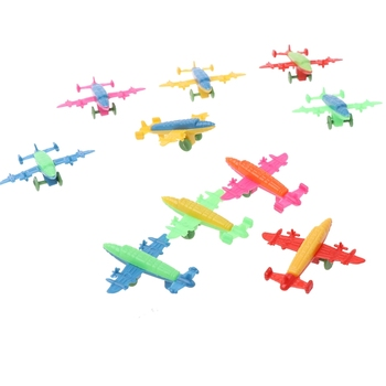10 Pcs Mini Plastic Bomber Plane Fighter Aircraft Model Toy Military Gifts Kids Y4QA image