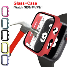 Glass+Case For Apple Watch Series 6 SE 5 4 44mm 40mm Bumper Screen Protector Cover for iwatch 3 2 1 38mm 42mm Accessorie