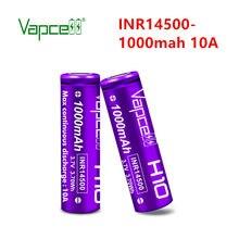 Mini bateria recarregável inr 3.7 14500 mah 10a do lítio 1000 v da bateria original de vapcell para baterias da lanterna/ferramentas elétricas