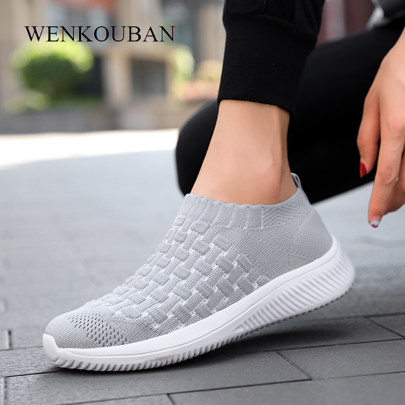 Summer Sneakers For Women Vulcanized Shoes Casual Ladies Trainers Air Mesh Sock Shoes Slip-On Women Flats Shoes Tenis Feminino