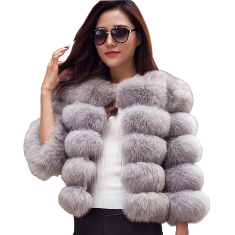 S-3XL Fox Fur Coat Damer 2019 Vintermote Grå Faux Fur Coat Elegant tykk Varm Yttertøy Fake Fur Jacket Svart Rosa PC148