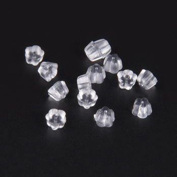 200Pcs/Lot Clear Rubber Stud Earring Stoppers Silicone Flower Ear Plugging Blocked Earring Backs Stoppers For DIY Jewelry Making new round ball shape ear back ear plugging blocked ear stud earring stopper transparent plastic silicone earrings diy jewelry