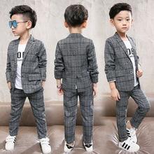 Formal Boys Suits for Weddings Blazers Pants Children Party Clothes Plaid Kids School Costume Gentlemen Teenager Sets