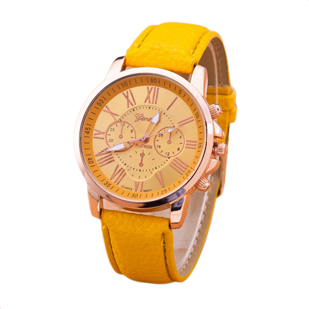 Fashion Brand Unisex Men Male Casual Stylish Romen Numerals Faux Leather Quartz Watch Montre Watches Relojes Mujer