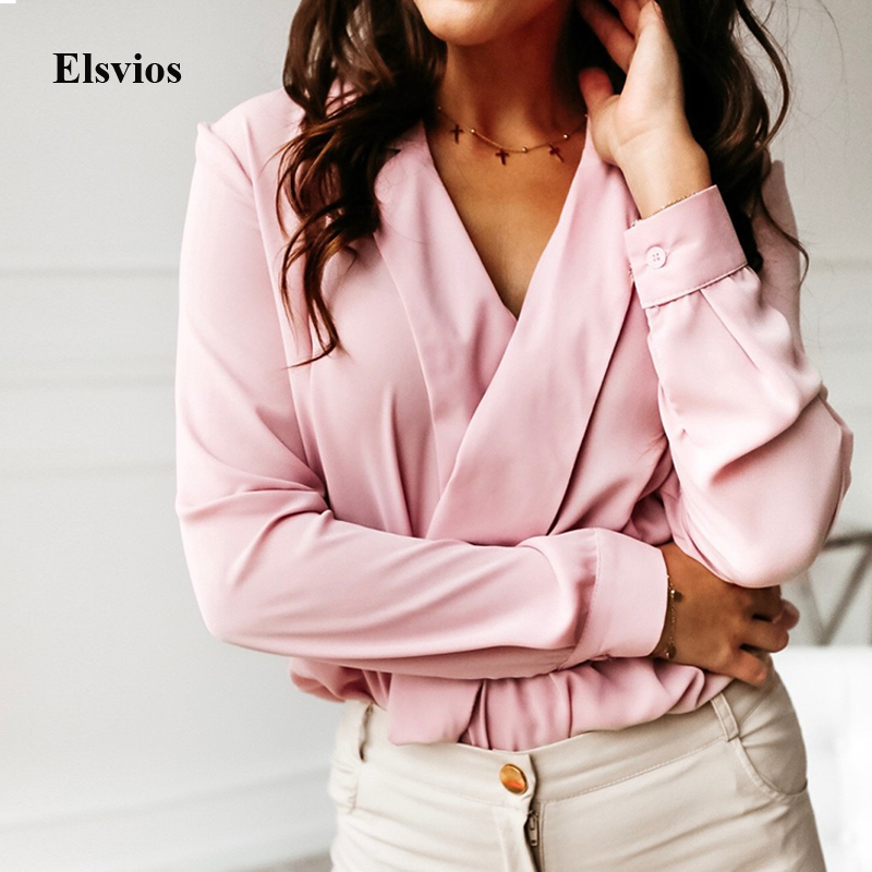 Sexy Deep V-Neck Blouse Print Elegant Office Ladies Pullover Shirt Casual Women Autumn Winter Long Sleeve Tops Blusas Streetwear(China)