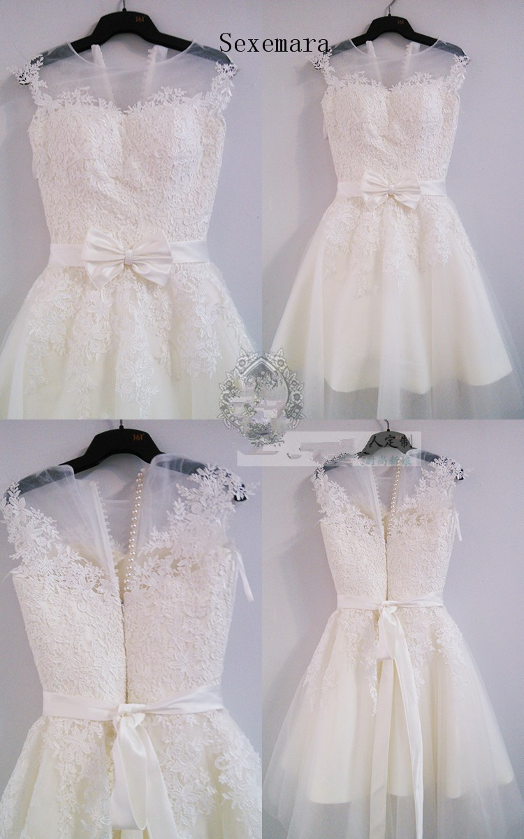 Summer Real-picture Bow Lace Appliques Bow Sexy Illusion Knee-length Bridal Gown 2020 Vestido De Noiva Longo Bridesmaid Dresses
