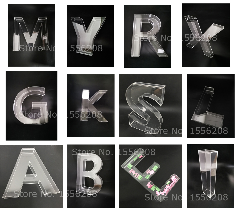 30cmH Freestanding Hollow Plexiglass Fillable Letter 26 Acrylic Alphabet Candy Box With Lid Party Wedding Desk Decoration Craft