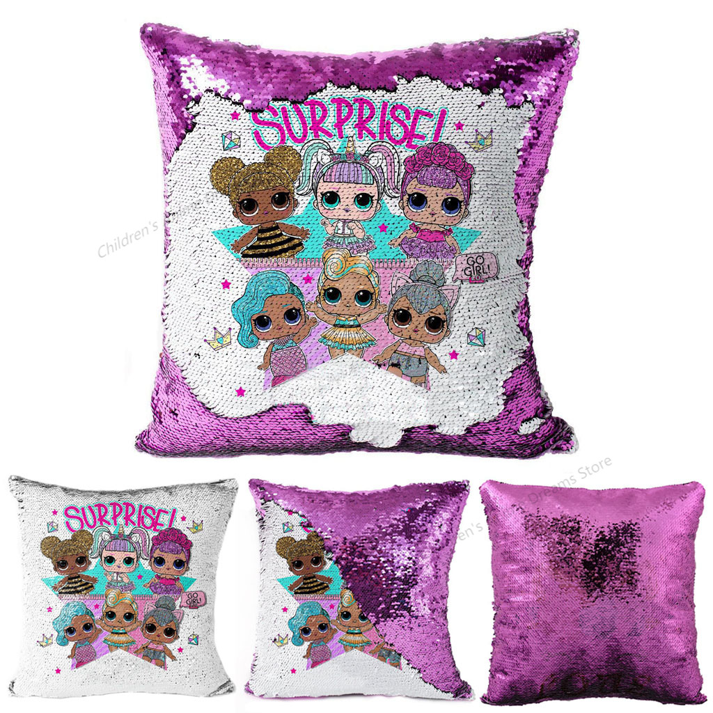 45x45cm LOL Surprise Doll Cushion Cover Christmas Gift New Two-color Sequin Cartoon Car Pillow Case Child Bedroom Nap Sofa
