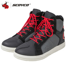 SCOYCO Motorcycle Boots Waterproof Men Casual Shoes Microfiber Leather Moto Motocross Riding Boots Breathable Motorbike Shoes