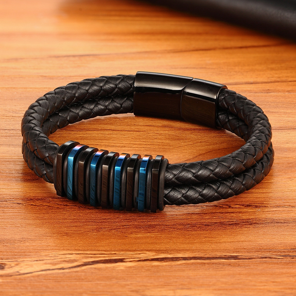 Classic Style Simulation Building Shape Stainless Steel Luxury Men's Leather Bracelet 4 Colors Simple Button For Birthday Gifts