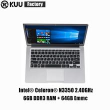 KUU 14.1 Inch For Intel N3350 Quad-core Laptop 6GB DDR3 RAM 64GB eMMC light thin Notebook office study notebook