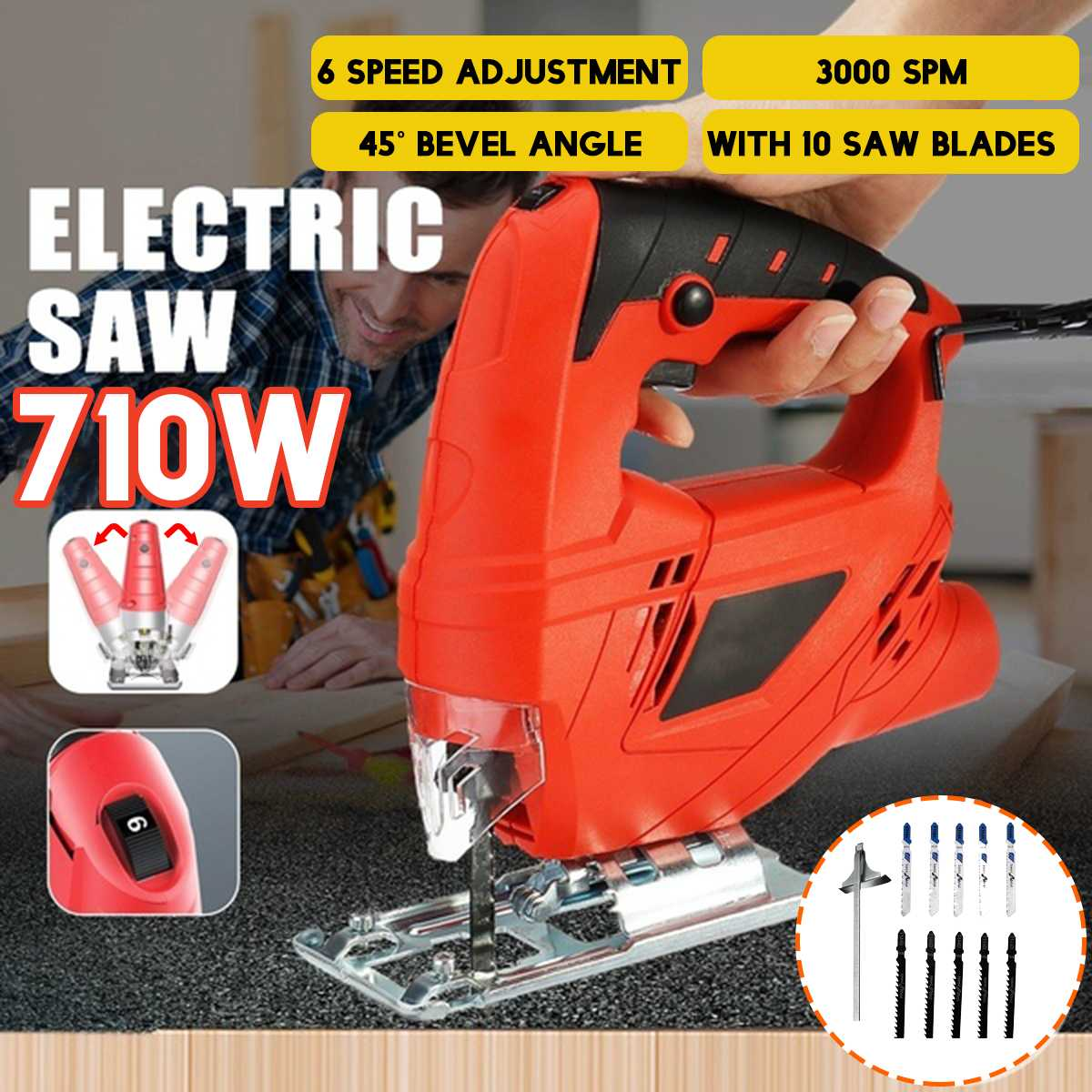 710W Jig Saw 6 Variable Speed Electric Saw With 10 Pieces Blade~ Multifunctional Jigsaw Electric Saws for Woodworking Power Tool