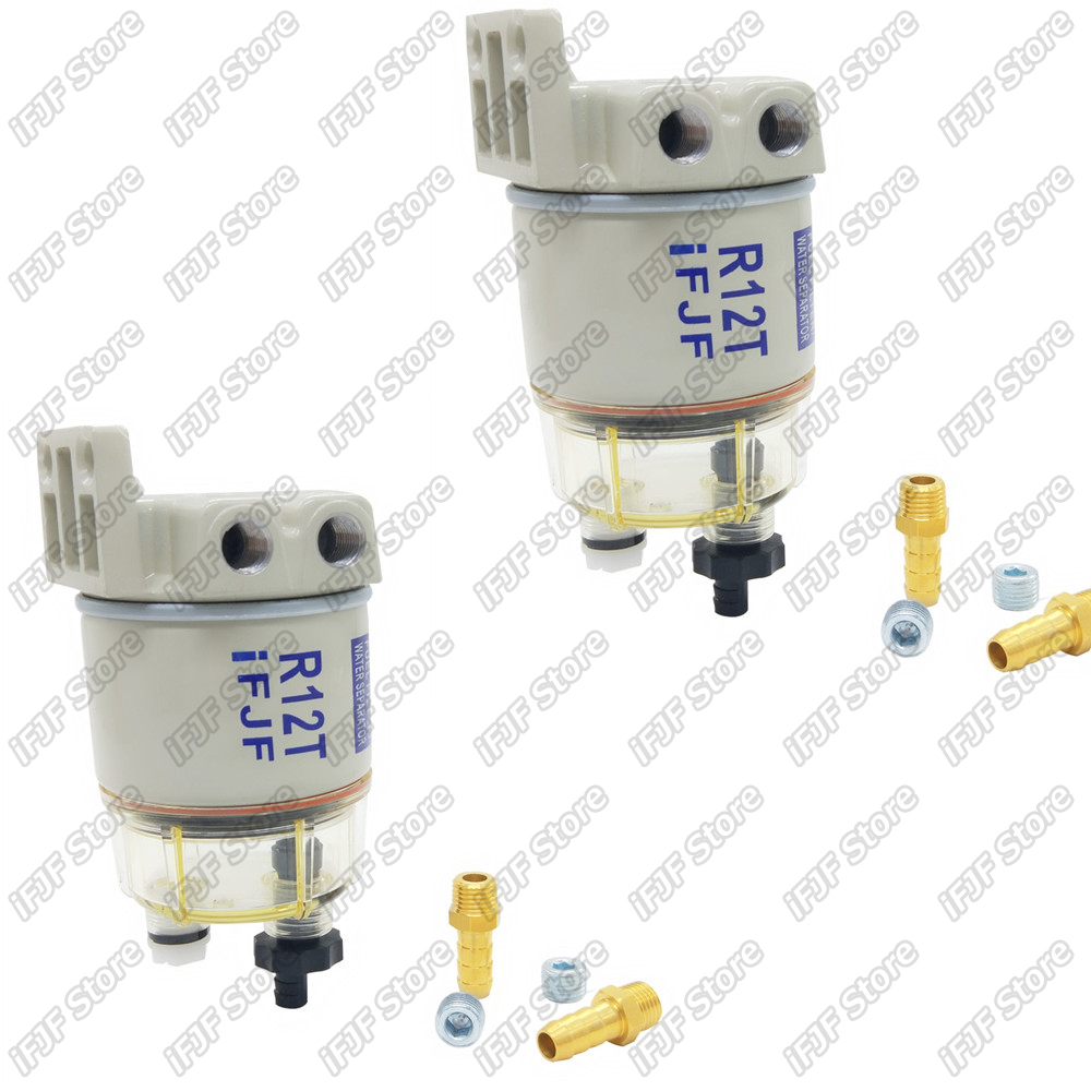 2 pcs R12T carburant/eau séparateur filtre moteur diesel pour Racor 140R 120AT S3240 NPT ZG1/4-19 pièces automobiles complet Combo