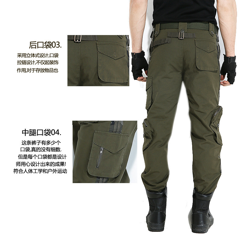 casuais multi-bolso militar ventilador calças