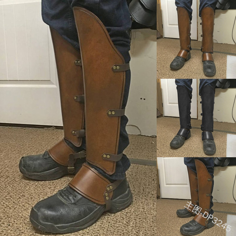 Medieval Viking Larp Greaves Leg Protector Leather Strap Wrap Armor Part Warrior Knight Costume Boot Decorate Set Men Shin Guard