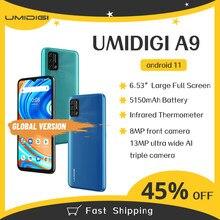 Original umidigi a9 versão global android 11 3gb 64gb 13mp ai triplo câmera helio g25 octa núcleo 6.53