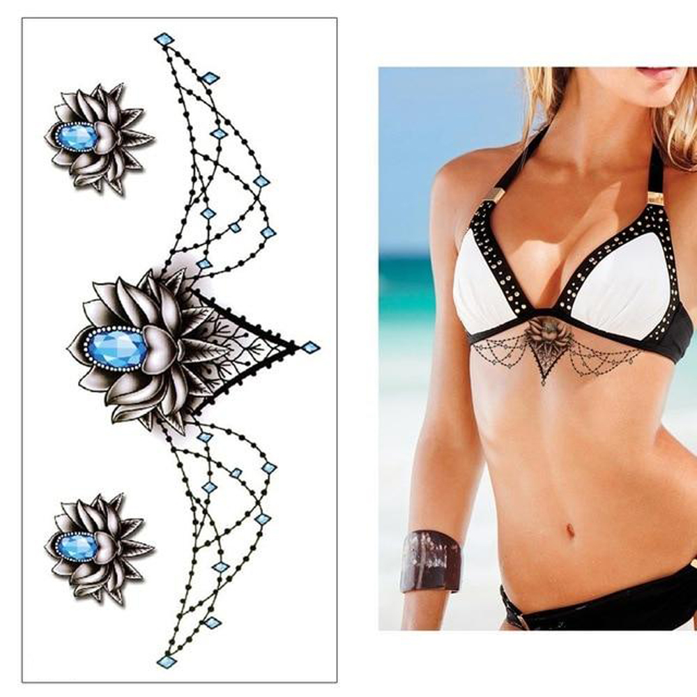 Underboob Mandala Waterproof Tattoos Sternum Temporary Tattoo Stickers Woman Dainty Boho Edgy Fake Tattoos Body Art Arm Tatoo