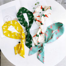 90X5cm NEW Fox animal printed silk scarf for women tie scarf bag handle Ribbon scarf girl Joker silk scarves long neck scarf(China)