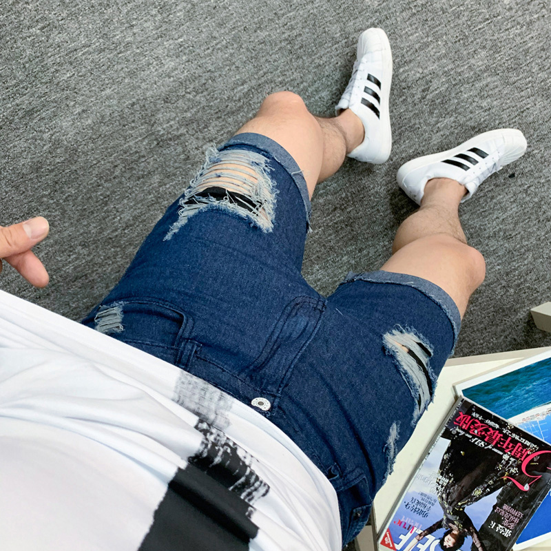 Летние мужские тонкие джинсы шорты с дырками подростковые уличные хип-хоп трендовые модные черные темно-синие