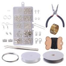 Kit de herramientas para hacer joyas DIY, alicates, tijeras, pinzas para rebordear Pines, anillos, ganchillo, gancho, cinta métrica, calibrador Vernier