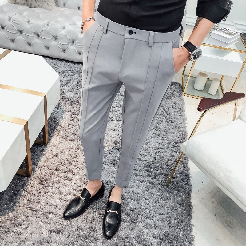 2019 Fashion Business Stretch Suit Pants Brand Men's Black Gray Casual Pants Men's Straight Slim Dress Pants Men's Trousers