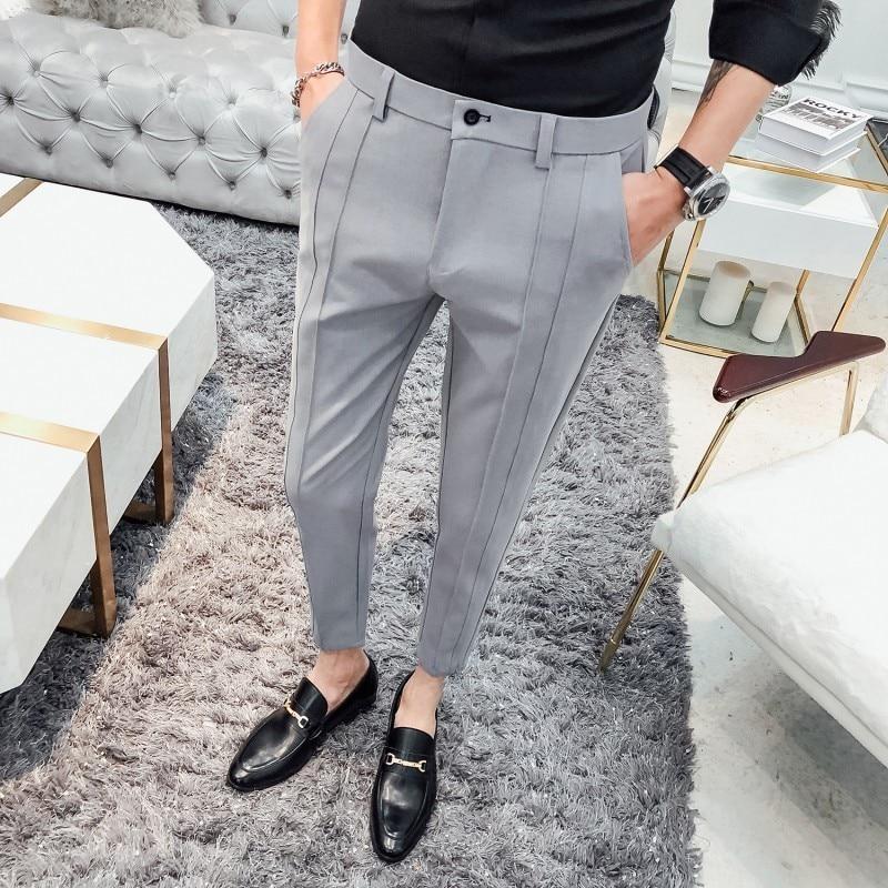 2019 Fashion Business Stretch Suit Pants Brand Men's Black Gray Casual Pants Men's Straight Slim Dress Pants Men's Trousers
