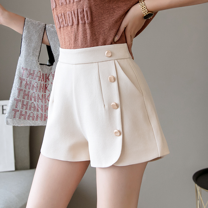 Split Front Solid Buttons Shorts For Women 2019 Summer High Waist Zipper Fly Women Shorts Black White Work Wear Elegant Shorts