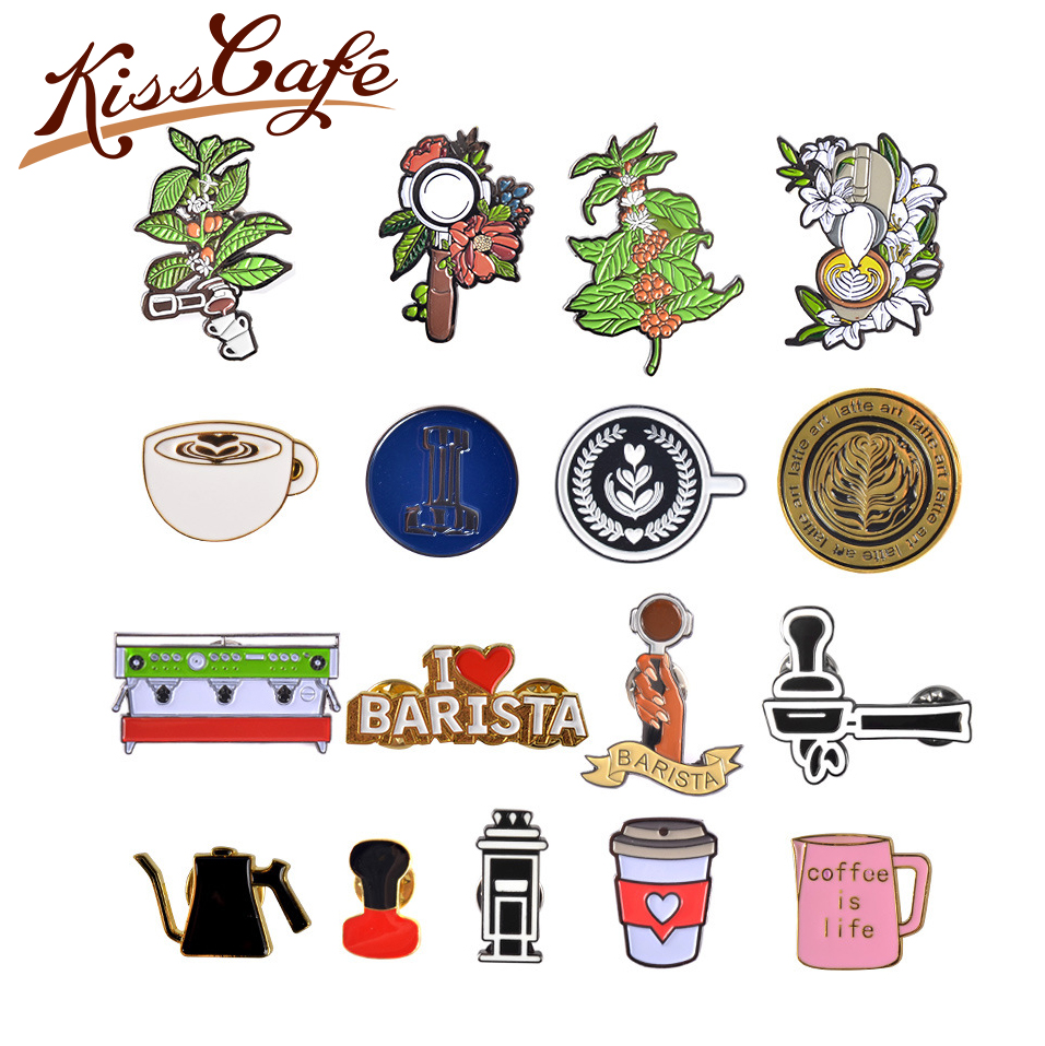 New Arrival Couple Espresso Accessories Barista Coffee Maker Brooch Mini Coffee Tamper Beautiful Coffee Badge Cafe Gift