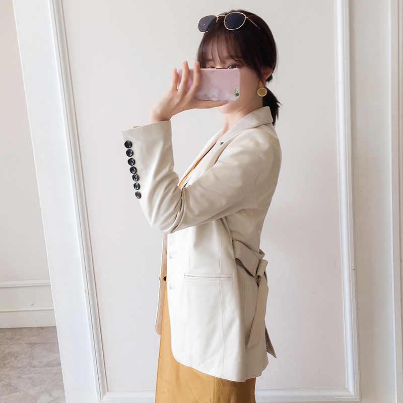 양모 코트 봄 가을 진짜 진짜 가죽 자 켓 여성 의류 2020 진짜 모피 코트 한국 빈티지 Streetwear 길어야 ZT3979