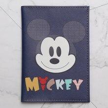 Moda mickey & duck anime dos desenhos animados capa de passaporte de viagem de couro do plutônio das mulheres dos homens titular do passaporte caso titular do cartão de identificação 14.5*10cm