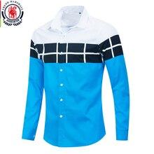 Fredd MARSHALL 2020 ฤดูใบไม้ผลิใหม่สีบล็อกเสื้อผู้ชายแฟชั่นแขนยาว Patchwork ลายสก๊อต 100% Cotton Homme Tops 216