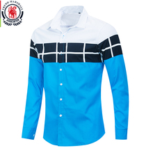 Fredd Marshall 2020 Spring New Color Block Shirt Men Casual Fashion Long Sleeve Patchwork Plaid Shirt 100% Cotton Homme Tops 216