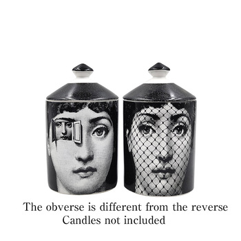 Lady Face Jar DIY Empty Candle Holder Beauty Dressing Brush Pen Box with Lid Ceramic Storage Tin Flower and Bottle 9