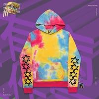 Pullover hoodies hophip versatile handsome custom tie dyeing Pentagram printed Man trend brand pocket opening loose style