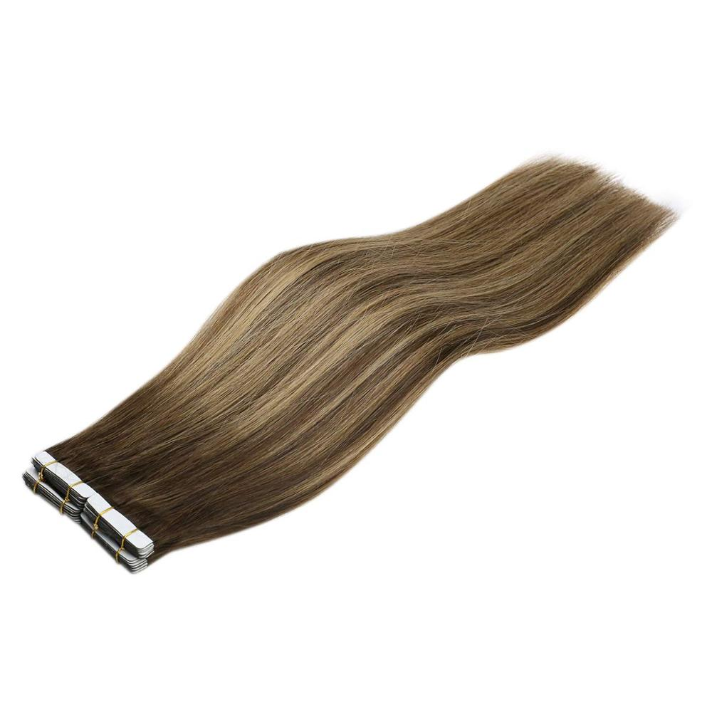 VeSunny Adhesive Tape In Hair Extensions Real Human Hair 20pcs Balayage Ombre Chocolate Brown Highlights Caramel Blonde 4/27/4