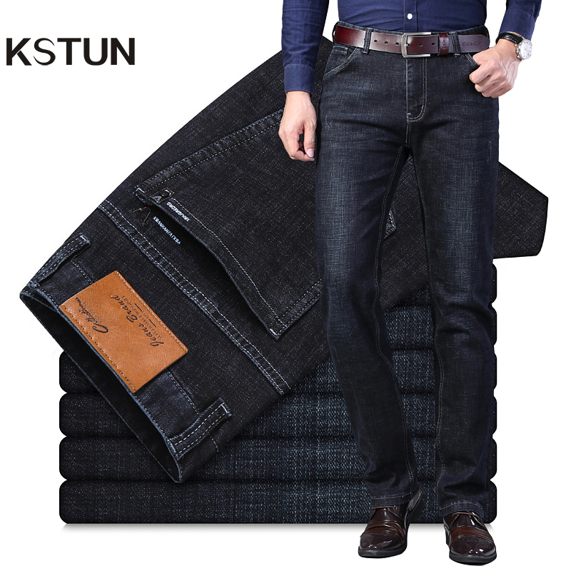 KSTUN Winter Jeans Men Black Jeans Business Casual Classic Direct Straight Long Trousers Businessman Gentlemen Denim Jeans Men