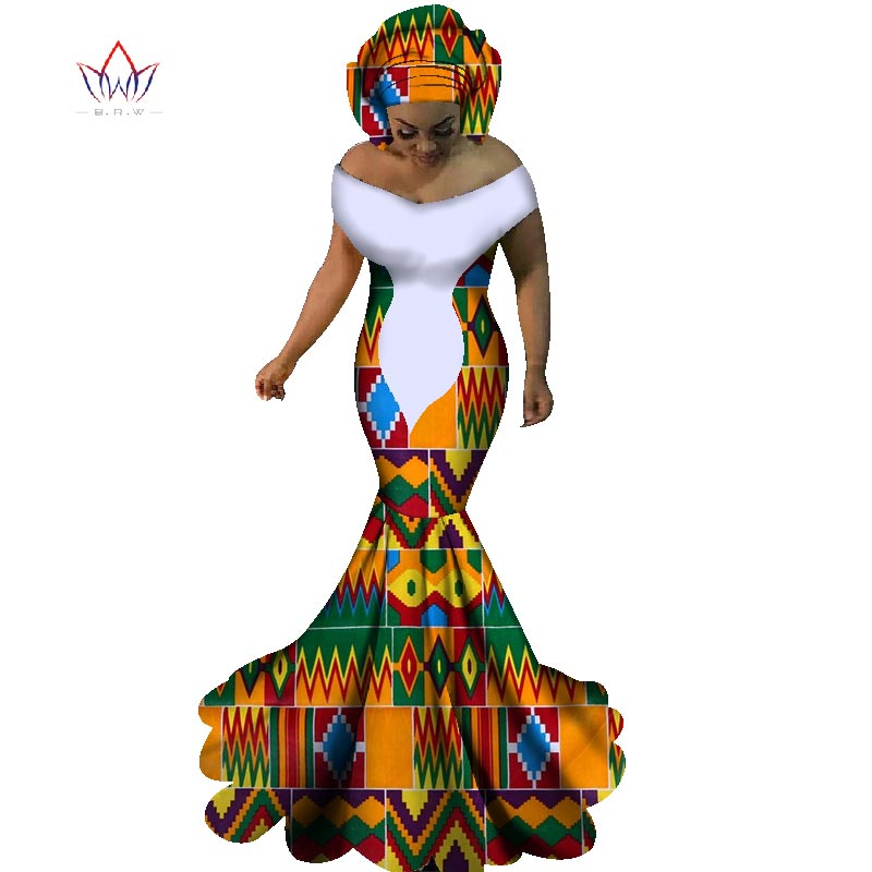 BRW African Dresses For Women Sexy Slash Neck Long Dresses Bazin Riche African Print Mermaid Clothing Plus Size 6XL WY1860